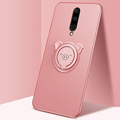 Ultra-thin Silicone Gel Soft Case Cover with Magnetic Finger Ring Stand for OnePlus 8 Rose Gold