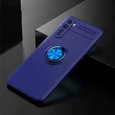 Ultra-thin Silicone Gel Soft Case Cover with Magnetic Finger Ring Stand for OnePlus Nord Blue