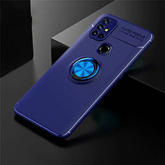 Ultra-thin Silicone Gel Soft Case Cover with Magnetic Finger Ring Stand for OnePlus Nord N10 5G Blue