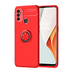 Ultra-thin Silicone Gel Soft Case Cover with Magnetic Finger Ring Stand for OnePlus Nord N100 Red