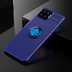 Ultra-thin Silicone Gel Soft Case Cover with Magnetic Finger Ring Stand for Oppo A73 (2020) Blue