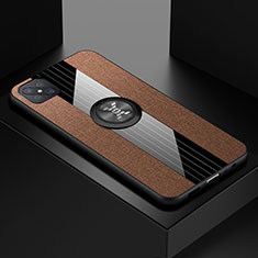 Ultra-thin Silicone Gel Soft Case Cover with Magnetic Finger Ring Stand for Oppo A92s 5G Brown