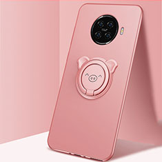 Ultra-thin Silicone Gel Soft Case Cover with Magnetic Finger Ring Stand for Oppo Ace2 Pink