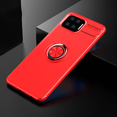 Ultra-thin Silicone Gel Soft Case Cover with Magnetic Finger Ring Stand for Oppo F17 Red