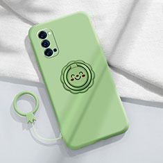 Ultra-thin Silicone Gel Soft Case Cover with Magnetic Finger Ring Stand for Oppo Reno4 5G Cyan