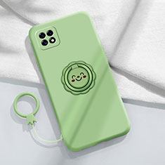 Ultra-thin Silicone Gel Soft Case Cover with Magnetic Finger Ring Stand for Oppo Reno4 SE 5G Matcha Green