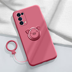 Ultra-thin Silicone Gel Soft Case Cover with Magnetic Finger Ring Stand for Oppo Reno5 5G Red Wine