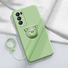 Ultra-thin Silicone Gel Soft Case Cover with Magnetic Finger Ring Stand for Oppo Reno5 Pro+ Plus 5G Matcha Green