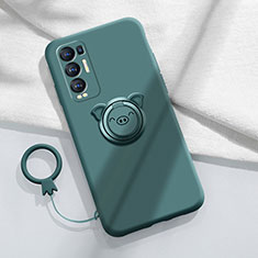 Ultra-thin Silicone Gel Soft Case Cover with Magnetic Finger Ring Stand for Oppo Reno5 Pro+ Plus 5G Midnight Green