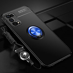Ultra-thin Silicone Gel Soft Case Cover with Magnetic Finger Ring Stand for Realme V5 5G Blue and Black