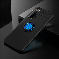 Ultra-thin Silicone Gel Soft Case Cover with Magnetic Finger Ring Stand for Realme X3 Blue and Black