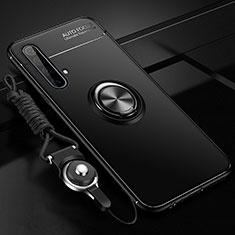Ultra-thin Silicone Gel Soft Case Cover with Magnetic Finger Ring Stand for Realme X50 5G Black