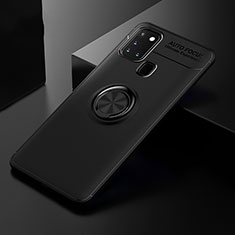 Ultra-thin Silicone Gel Soft Case Cover with Magnetic Finger Ring Stand for Samsung Galaxy A21s Black