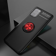 Ultra-thin Silicone Gel Soft Case Cover with Magnetic Finger Ring Stand for Samsung Galaxy A31 Red and Black