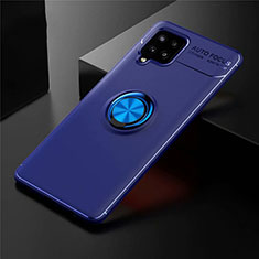 Ultra-thin Silicone Gel Soft Case Cover with Magnetic Finger Ring Stand for Samsung Galaxy A42 5G Blue