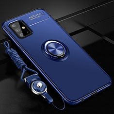 Ultra-thin Silicone Gel Soft Case Cover with Magnetic Finger Ring Stand for Samsung Galaxy A51 4G Blue