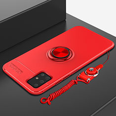 Ultra-thin Silicone Gel Soft Case Cover with Magnetic Finger Ring Stand for Samsung Galaxy A71 5G Red