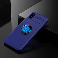 Ultra-thin Silicone Gel Soft Case Cover with Magnetic Finger Ring Stand for Samsung Galaxy M01 Core Blue