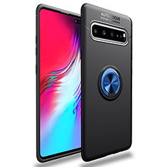 Ultra-thin Silicone Gel Soft Case Cover with Magnetic Finger Ring Stand for Samsung Galaxy S10 5G SM-G977B Blue and Black