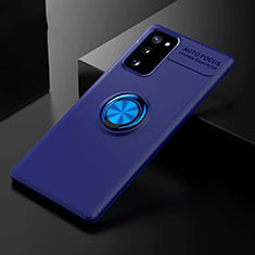 Ultra-thin Silicone Gel Soft Case Cover with Magnetic Finger Ring Stand for Samsung Galaxy S20 FE 5G Blue