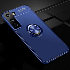 Ultra-thin Silicone Gel Soft Case Cover with Magnetic Finger Ring Stand for Samsung Galaxy S21 5G Blue