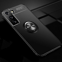 Ultra-thin Silicone Gel Soft Case Cover with Magnetic Finger Ring Stand for Samsung Galaxy S21 Plus 5G Black