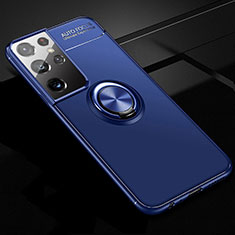 Ultra-thin Silicone Gel Soft Case Cover with Magnetic Finger Ring Stand for Samsung Galaxy S21 Ultra 5G Blue