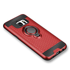Ultra-thin Silicone Gel Soft Case Cover with Magnetic Finger Ring Stand for Samsung Galaxy S7 G930F G930FD Red