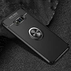 Ultra-thin Silicone Gel Soft Case Cover with Magnetic Finger Ring Stand for Samsung Galaxy S8 Black