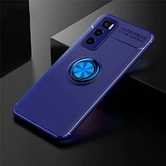 Ultra-thin Silicone Gel Soft Case Cover with Magnetic Finger Ring Stand for Vivo V20 SE Blue
