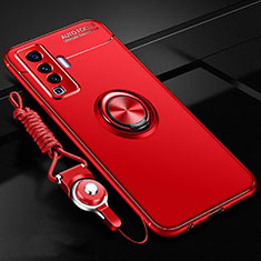 Ultra-thin Silicone Gel Soft Case Cover with Magnetic Finger Ring Stand for Vivo X50 5G Red
