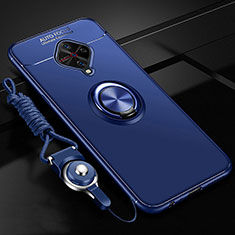 Ultra-thin Silicone Gel Soft Case Cover with Magnetic Finger Ring Stand for Vivo X50 Lite Blue