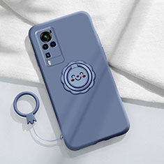Ultra-thin Silicone Gel Soft Case Cover with Magnetic Finger Ring Stand for Vivo X60 Pro 5G Lavender Gray