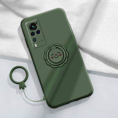 Ultra-thin Silicone Gel Soft Case Cover with Magnetic Finger Ring Stand for Vivo X60 Pro 5G Midnight Green