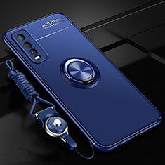Ultra-thin Silicone Gel Soft Case Cover with Magnetic Finger Ring Stand for Vivo Y12s Blue