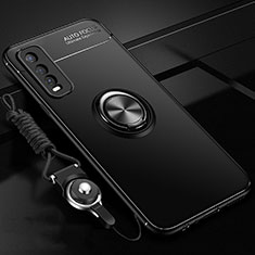 Ultra-thin Silicone Gel Soft Case Cover with Magnetic Finger Ring Stand for Vivo Y20s Black
