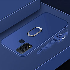 Ultra-thin Silicone Gel Soft Case Cover with Magnetic Finger Ring Stand for Vivo Y50 Blue