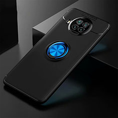 Ultra-thin Silicone Gel Soft Case Cover with Magnetic Finger Ring Stand for Xiaomi Mi 10T Lite 5G Blue and Black