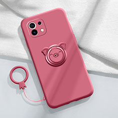 Ultra-thin Silicone Gel Soft Case Cover with Magnetic Finger Ring Stand for Xiaomi Mi 11 5G Red Wine