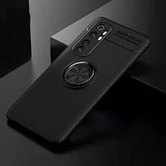 Ultra-thin Silicone Gel Soft Case Cover with Magnetic Finger Ring Stand for Xiaomi Mi Note 10 Lite Black