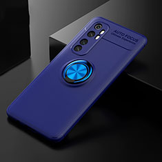 Ultra-thin Silicone Gel Soft Case Cover with Magnetic Finger Ring Stand for Xiaomi Mi Note 10 Lite Blue