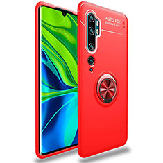 Ultra-thin Silicone Gel Soft Case Cover with Magnetic Finger Ring Stand for Xiaomi Mi Note 10 Pro Red