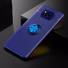 Ultra-thin Silicone Gel Soft Case Cover with Magnetic Finger Ring Stand for Xiaomi Poco X3 NFC Blue