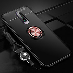 Ultra-thin Silicone Gel Soft Case Cover with Magnetic Finger Ring Stand for Xiaomi Redmi K30 5G Gold and Black