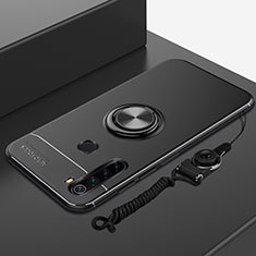 Ultra-thin Silicone Gel Soft Case Cover with Magnetic Finger Ring Stand for Xiaomi Redmi Note 8T Black