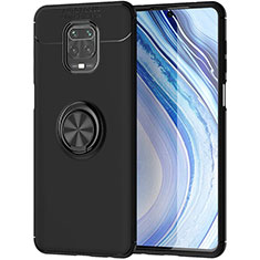 Ultra-thin Silicone Gel Soft Case Cover with Magnetic Finger Ring Stand for Xiaomi Redmi Note 9 Pro Black