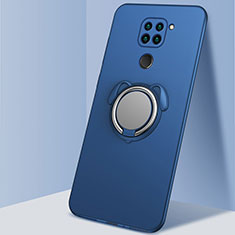 Ultra-thin Silicone Gel Soft Case Cover with Magnetic Finger Ring Stand G01 for Xiaomi Redmi Note 9 Blue