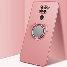 Ultra-thin Silicone Gel Soft Case Cover with Magnetic Finger Ring Stand G01 for Xiaomi Redmi Note 9 Rose Gold