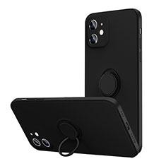 Ultra-thin Silicone Gel Soft Case Cover with Magnetic Finger Ring Stand N01 for Apple iPhone 12 Mini Black