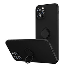 Ultra-thin Silicone Gel Soft Case Cover with Magnetic Finger Ring Stand N01 for Apple iPhone 12 Pro Max Black